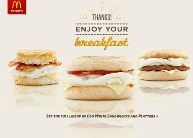 mcdonalds eggwhite sandwich